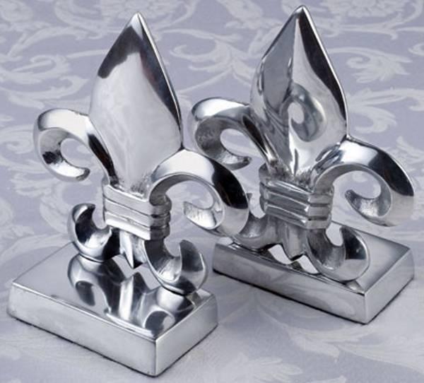 Classic unique fleur de lis metal bookends - Fleur de lis bookends ...